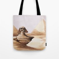 egypt Tote Bags featuring Dark egypt by Tony Vazquez