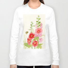 Watercolor Flower Pink Hollyhock and Bee Long Sleeve T-shirt