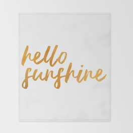 Hello Sunshine - Gold and white background Throw Blanket