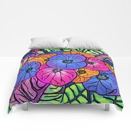 Colourful Flowers and Leaves Comforters