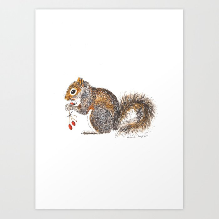 Berries Squirrel Art Print