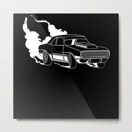 Road Racing Car Nitro Drifting Motif Metal Print