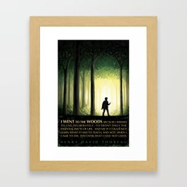 Henry David Thoreau Inspirational Quote: I Went to the Woods Framed Art Print