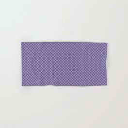 Abstract Geometric Shapes Diamond Square Grid Dark Purple, Light Purple, Blue and White Hand & Bath Towel