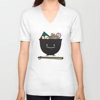 ramen V-neck T-shirts featuring Happy Ramen Bowl by Berenice Limon