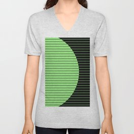 Opposites Attract (Abstract, green and black, geometric design) Unisex V-Neck