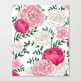 Rose Florals and Stems Canvas Print