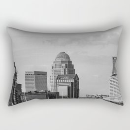 Downtown Louisville Skyline - Black and White Rectangular Pillow
