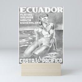 retro monochrome Ecuador vintage poster Mini Art Print