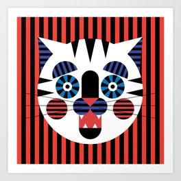 Stripey Cat Art Print