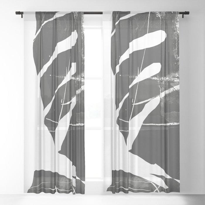 Monstera Leaf Black Sheer Curtain