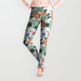 Minty + Rust Floral Leggings
