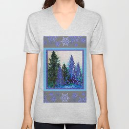 GREY WINTER SNOWFLAKE  CRYSTALS FOREST ART Unisex V-Neck