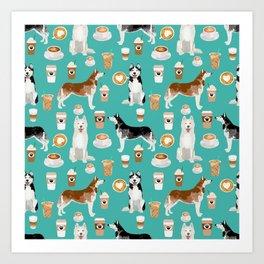 Husky siberian huskies coffee cute dog art drinks latte dogs pet portrait pattern Art Print