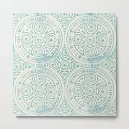 notting hill: aqua with cream Metal Print
