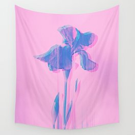 Light Blue and Blush Glitched Iris Wall Tapestry