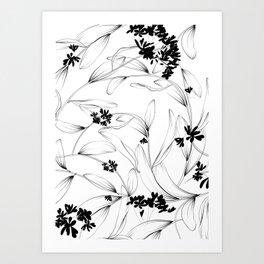 Flowers - Minimal Line Draw Art Print