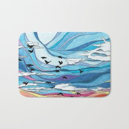 Birds flying at sunset: abstract colorful sunset sky illustration- nature landscape Bath Mat