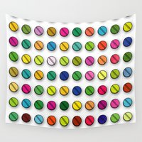 pills Wall Tapestries featuring Multi-coloured Pills Pattern square by Thisisnotme