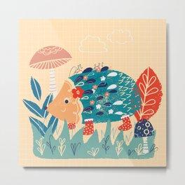 Hedgehog toadstool print Metal Print