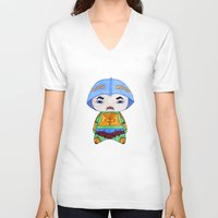 conan V-neck T-shirts featuring A Boy - Man-at-arms by Christophe Chiozzi
