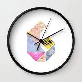 Collaged Tangram Alphabet - G Wall Clock