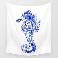 seahorse Wall Tapestries featuring Seahorse by SaltyHues