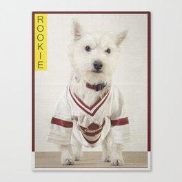Hockey Player Dog Rookie Card Canvas Print