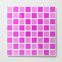 Modern Checkers (pink tiles) Metal Print