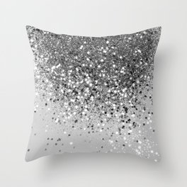 Soft Silver Gray Glitter #1 (Faux Glitter - Photography) #shiny #decor #art #society6 Throw Pillow