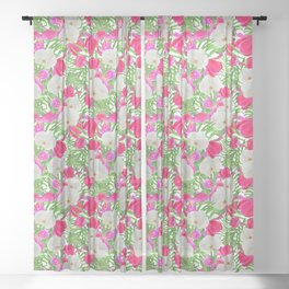 tropical orchid tulip pattern Sheer Curtain