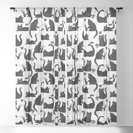 Bad Cats Knocking Stuff Over Sheer Curtain