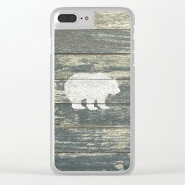 Rustic White Bear on Teal Wood Lodge Art A231c Clear iPhone Case