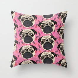 Uptown Pug Throw Pillow