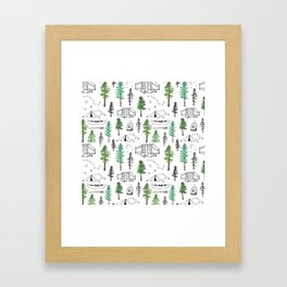 Camping and Trees Framed Art Print