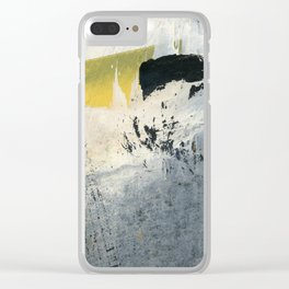 Mellow Yellow Texture Collage Clear iPhone Case