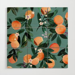 Dear Clementine - oranges teal by Crystal Walen Wood Wall Art