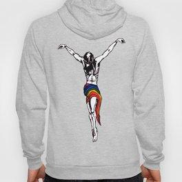 Christ Wearing Rainbow LGBTQ Loincloth Isolated Hoody