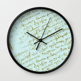 French Script on Paris Blue Wall Clock