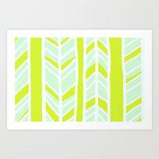 Stripes: Yellow & Pale Blue Art Print