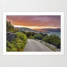colorful sunset over the Ciovo island, Croatia Art Print