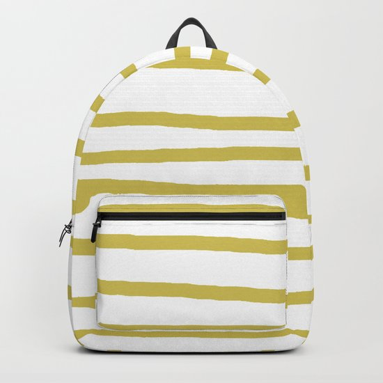 Simply Drawn Stripes Mod Yellow on White Backpack