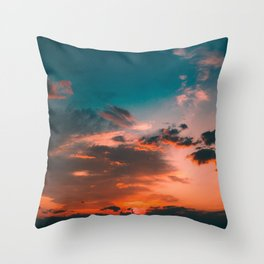 Colorful Pink Orange Turquoise Sunset Clouds Ombre Gradient Throw Pillow