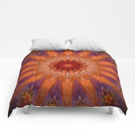 Vibrant Purple Orange Mandala Design Comforters