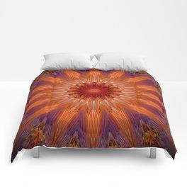 Vibrant Purple Orange Mandala Design Comforters