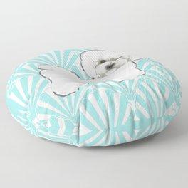 Bichon Frise at the beach / seashell blue Floor Pillow