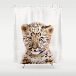 Baby Leoard, Baby Animals Art Print By Synplus Shower Curtain