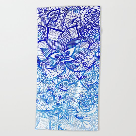 Modern china blue ombre watercolor floral lace hand drawn illustration Beach Towel