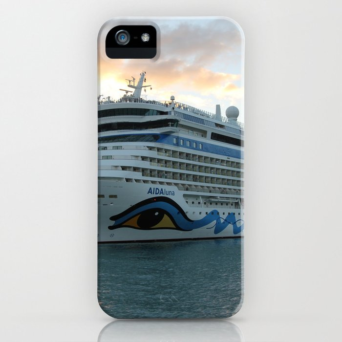 AIDAluna Cruise Ship in Road Town on Tortola iPhone Case