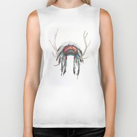 headdress Biker Tanks featuring Antler Headdress by Nicole Gaitan